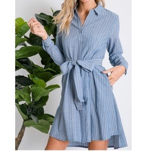 Dresses & Skirts - Chambray Shirtdress with Tie Accent